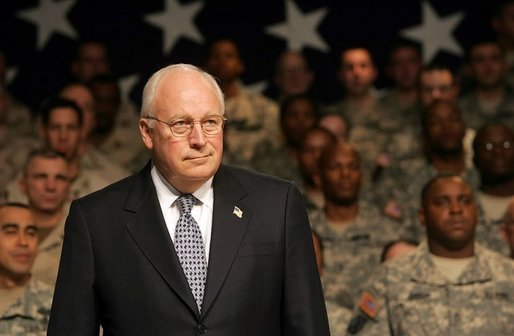 "Vice President Dick Cheney attends a Welcome Home rally for troops returning from Iraq at Fort Drum, N.Y., Tuesday, Dec. 6, 2005. ""In the four years since our nation was attacked, you've deployed on many fronts in the war on terror, whether the job is dragging mortar tubes through waist-deep snow 9,000 feet up in the Himalayas of Afghanistan, or conducting raids in urban Iraq,"" said the Vice President. ""You know how to take the fight to the enemy and to get the job done right. I'm honored to be in your presence today."" White House photo by David Bohrer"