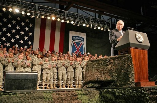 "Vice President Dick Cheney visits troops at Fort Drum, N.Y., Tuesday, Dec. 6, 2005. ""We're dealing with enemies that recognize no rule of warfare and accept for standard of morality. They have declared their intention to bring great harm to any nation that opposed their aims,"" said the Vice President in his remarks. ""Their prime targets are the United States and the American people. And so we have a responsibility to lead in this fight. In the War on Terror we face a loose network of committed fanatics found in many countries, operating under different commanders. Yet the branches of the network share the same basic ideology and the same dark vision for the world."" White House photo by David Bohrer"