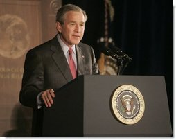 President George W. Bush addresses a meeting of the Council on Foreign Relations, Wednesday, Dec. 7, 2005 in Washington, speaking on the war on terror and the rebuilding of Iraq.  White House photo by Kimberlee Hewitt