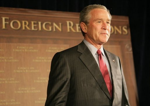 President George W. Bush is introduced at a meeting of the Council on Foreign Relations, Wednesday, Dec. 7, 2005 in Washington, where he spoke on the war on terror and the rebuilding of Iraq. White House photo by Paul Morse