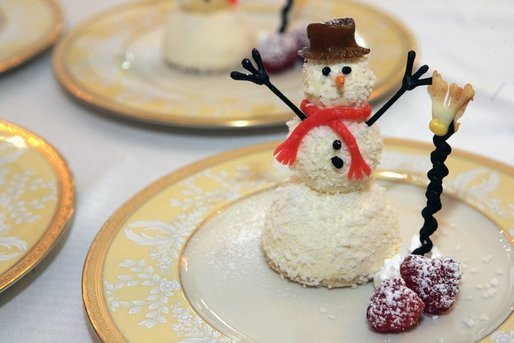 A snowman dessert made out of ice cream, made by White House Executive Pastry Chef Thaddeus DuBois, who appeared on 'Ask the White House' Friday, December 9, 2005. White House photo by Shealah Craighead