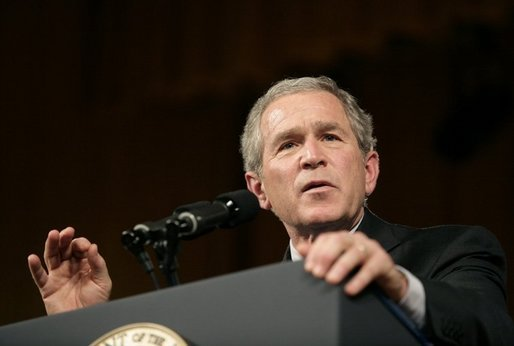 President George W. Bush answers a question from the audience after delivering remarks on the War on Terror before members of the World Affairs Council of Philadelphia, Monday, Dec. 12, 2005. White House photo by Eric Draper