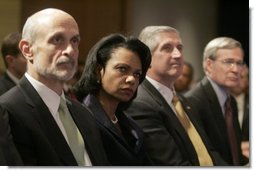 Members of the Cabinet listen as President Bush outlines the strategy Wednesday, Dec. 14, 2005, for victory in Iraq during remarks on the War on Terror at the Woodrow Wilson International Center for Scholars in Washington D.C. From left are: Secretary Michael Chertoff, Department of Homeland Security; Secretary of State Condoleezza Rice; Chief of Staff Andrew Card, and Stephen J. Hadley, Assistant to the President for National Security Affairs.  White House photo by Kimberlee Hewitt