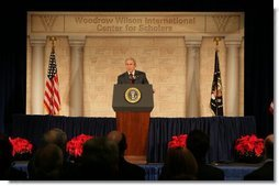 President George W. Bush delivers remarks Wednesday, Dec. 14, 2005, outlining the strategy for victory in Iraq during an address at the Woodrow Wilson International Center for Scholars in Washington D.C.  White House photo by Kimberlee Hewitt