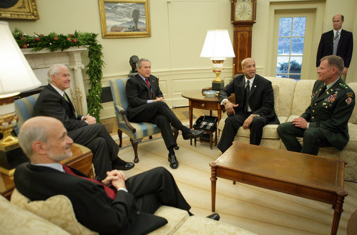 President George W. Bush talks about levee reconstruction during a briefing Thursday, Dec. 15, 2005, in the Oval Office of the White House. The President is joined by Secretary Michael Chertoff, left, Department of Homeland Security; Don Powell, Federal Coordinator for the Recovery and Rebuilding of the Gulf Coast; Mayor Ray Nagin of New Orleans, and Lt. Gen. Carl Strock, Commander and Chief of Engineers, US Army Corps of Engineers. White House photo by Paul Morse