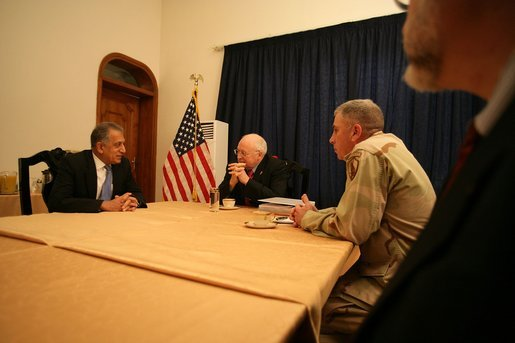 Vice President Cheney meets with US Ambassador to Iraq Zalmay Khalilzad, General George Casey and General John Abizaid in the Green Zone during a one-day surprise visit to Iraq, Sunday Dec. 18, 2005. White House photo by David Bohrer