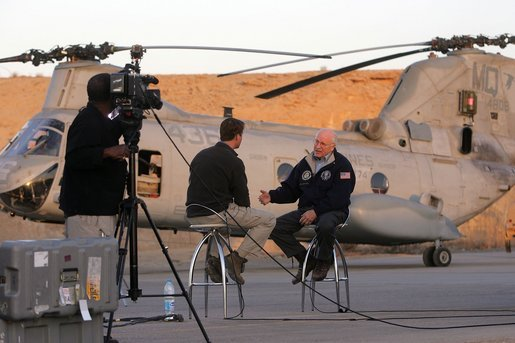 Terry Moran of ABC News interviews Vice President Dick Cheney at Al-Asad Airbase in Iraq, Sunday Dec. 18, 2005. White House photo by David Bohrer