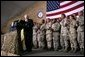 Vice President Dick Cheney receives a welcome from the troops at a rally at Bagram Air Base, Afghanistan Monday, Dec. 19, 2005. White House photo by David Bohrer