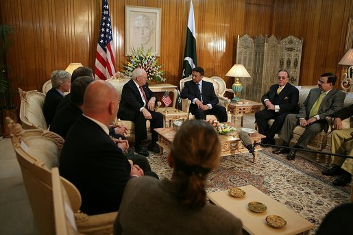 "Vice President Dick Cheney discusses earthquake relief efforts with Pakistani President Pervez Musharraf, Tuesday Dec. 20, 2005. President Musharraf thanked the Vice President for the US relief assistance and said, ""I don't think we could have managed the relief operation without your support."" White House photo by David Bohrer"