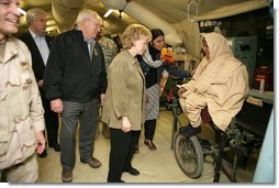 "Vice President Cheney and Mrs. Lynne Cheney visit the 212th M.A.S.H.(Mobile Army Surgical Hospital) Unit run by the U.S. military in a mountainous area near the earthquake's epicenter, 65 miles northwest of Islamabad, Pakistan, Tuesday Dec. 20, 2005. During the visit the Vice President said he was ""impressed with what we've been able to do with our M.A.S.H. units. U.S. forces were able to move quickly into the area. We were here within 48 hours and we've been here ever since.""  White House photo by David Bohrer"