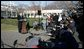 "President George W. Bush speaks to reporters on the South Lawn of the White House Wednesday, Dec. 21, 2005, before boarding Marine One for Maryland. Urging Senate to reauthorize the Patriot Act and pass the defense bill, the President said, ""There is an enemy that lurks, a dangerous group of people that want to do harm to the American people ... and we must have the tools necessary to protect the American people."" White House photo by Kimberlee Hewitt"