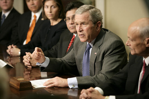 "President George W. Bush meets with administration official and U. S. Attorneys to talk about the use and reauthorization of the PATRIOT Act in the Roosevelt Room Tuesday, Jan. 3, 2006. ""This Patriot Act was passed overwhelmingly by the United States Congress in 2001,"" said the President in his remarks to the press. ""Members from both parties came together and said we will give those on the front line of protecting America the tools necessary to protect American citizens, and at the same time, guard the civil liberties of our citizens."" White House photo by Eric Draper"