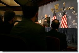 Vice President Dick Cheney remarks on the global war on terror during a speech at the Heritage Foundation in Washington, Wednesday January 4, 2006.  White House photo by David Bohrer