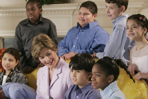 Mrs. Laura Bush visits with students from the Big Brothers Big Sisters program in Washington and Baltimore, Md., during a visit to the White House, Wednesday, Jan. 4, 2006. White House photo by Kimberlee Hewitt