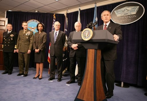 President George W. Bush gestures as he addresses his remarks on the global war on terror, Wednesday, Jan. 4, 2006, to an audience at the Pentagon, following a Department of Defense briefing with Vice President Dick Cheney, Secretary of Defense Donald Rumsfeld, Secretary of State Condoleezza Rice, General Peter Pace, Chairman of the Joint Chiefs of Staff and Admiral Ed Giambastiani, Vice Chairman of the Joint Chiefs of Staff. White House photo by David Bohrer