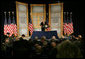 President George W. Bush addresses audience members, Thursday, Jan. 5, 2006, at the U.S. State Department in Washington, during the U.S. University Presidents Summit on International Education. White House photo by Kimberlee Hewitt