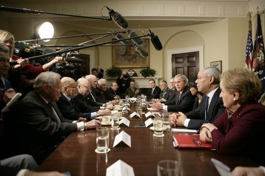 President George W. Bush speaks with reporters following a meeting Thursday, Jan. 5, 2006 in the Roosevelt Room at the White House with former Secretaries of State and Secretaries of Defense from both Republican and Democratic administrations. White House photo by Eric Draper