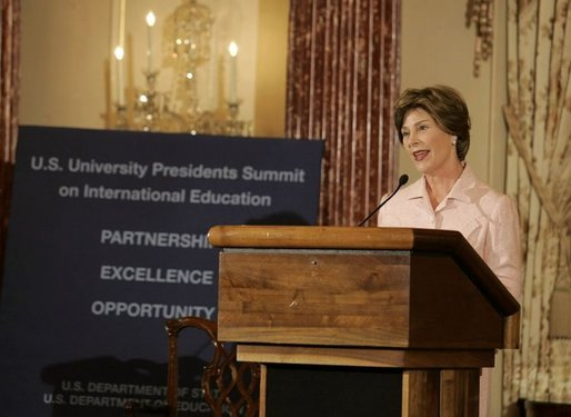 Laura Bush delivers remarks during the U.S. University Presidents Summit on International Education at the U.S. State Department Friday, Jan. 6, 2006. White House photo by Shealah Craighead