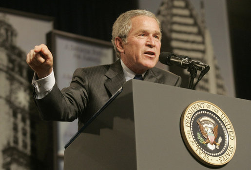 President George W. Bush gestures as he addresses an audience at the Economic Club of Chicago, Friday, Jan. 6, 2006 in Chicago, discussing the strength and growth of the U.S. economy. White House photo by Kimberlee Hewitt