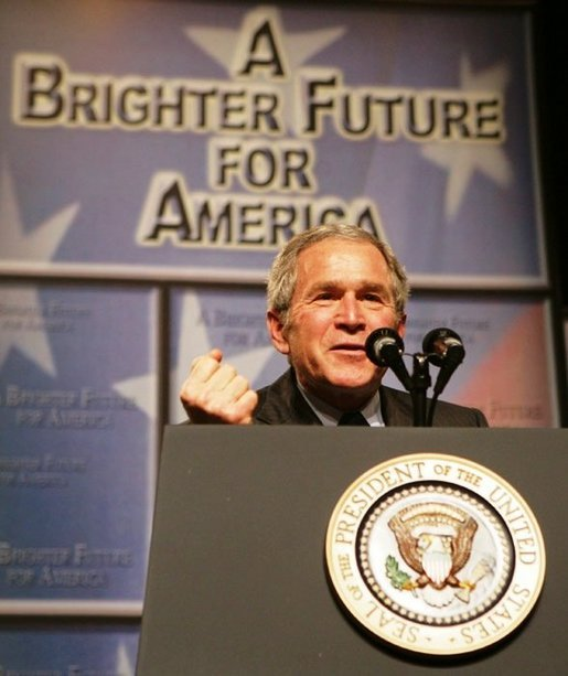 President George W. Bush gestures as he addresses the Economic Club of Chicago, Friday, Jan. 6, 2006 in Chicago, discussing the strength and growth of the U.S. economy. White House photo by Kimberlee Hewitt