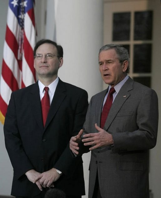 President George W. Bush and Judge Samuel A. Alito address the media in the Rose Garden Monday, Jan. 9, 2006, after a breakfast meeting in the Private Dining Room. Confirmation hearings for Judge Alito, President Bush's nominee for Associate Justice of the Supreme Court, begin today in Washington, D.C. White House photo by Kimberlee Hewitt