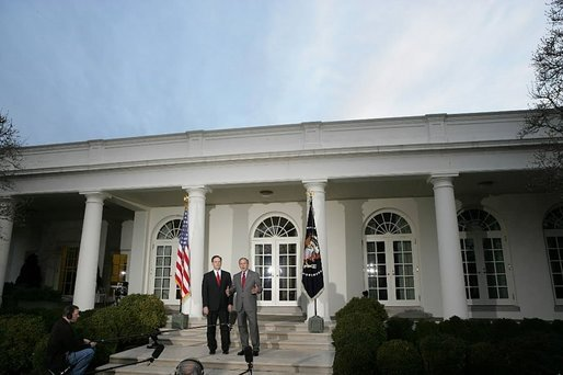 "President George W. Bush and Judge Samuel A. Alito address the media in the Rose Garden Monday, Jan. 9, 2006, after a breakfast meeting in the Private Dining Room. Confirmation hearings for Judge Alito, President Bush's nominee for Associate Justice of the Supreme Court, begin today in Washington, D.C. ""It's very important that members of the Senate conduct a dignified hearing. The Supreme Court is a dignified body; Sam is a dignified person. And my hope, of course, is that the Senate bring dignity to the process and give this man a fair hearing and an up or down vote on the Senate floor,"" said the President. White House photo by Kimberlee Hewitt"