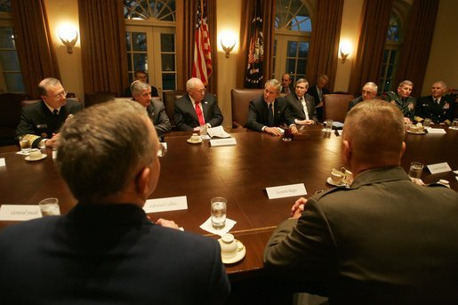 President George W. Bush and Vice President Dick Cheney attend a meeting with the members of the Joint Chiefs of Staff and the Combatant Commanders in the Cabinet Room, Monday January 9, 2006, at the White House. The Combatant Commanders are part of the Unified Command Plan responsible for the geographic military operations around the world. White House photo by David Bohrer