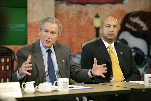 President George W. Bush, with New Orleans Mayor Ray Nagin, speaks to the media during a roundtable with small business owners and community leaders in New Orleans, La., Thursday, Jan. 12, 2006. White House photo by Eric Draper