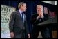 "President George W. Bush and Mississippi Gov. Haley Barbour stand together at St. Stanislaus College in Bay St. Louis, Miss., Thursday, Jan. 12, 2006. ""Part of the strategy to make sure that the rebuilding effort after the recovery effort worked well was to say to people like Haley, and the Governor of Louisiana and the Mayor of New Orleans, you all develop a strategy,"" said the President. ""It's your state, it's your region, you know the people better than people in Washington -- develop the rebuilding strategy. And the role of the federal government is to coordinate with you and to help."" White House photo by Eric Draper"