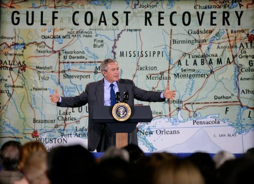 "President George W. Bush delivers remarks on gulf coast reconstruction in Bay St. Louis, Miss., Thursday, Jan. 12, 2006. ""I can remember coming here, the times I came, and looked hard in people's eyes and saw a sense of desperation and worry and deep, deep concern about the future,"" said the President. I'm sure there is still concern about the future, but the eyes have cleared up"" White House photo by Eric Draper"