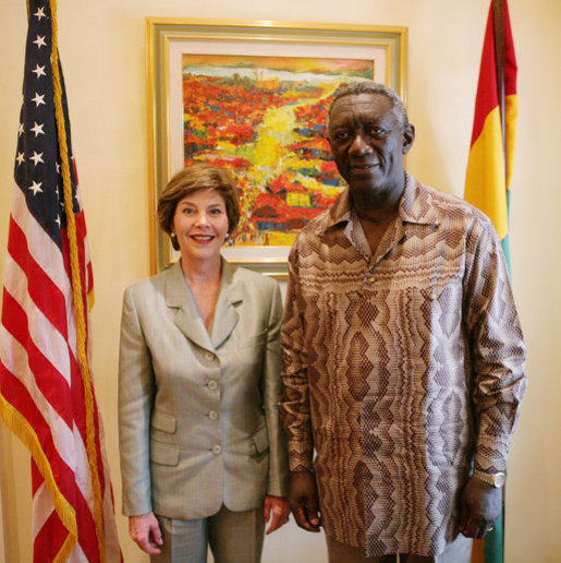 Mrs. Laura Bush is seen at the residence of the U.S. Ambassador to Ghana, welcomed by Ghana President John Agyekum Kufuor in Accra, Ghana, Sunday, Jan. 15, 2006. White House photo by Shealah Craighead