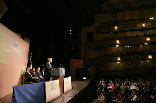 "President George W. Bush delivers remarks at Georgetown University's ""Let Freedom Ring"" Celebration Honoring Dr. Martin Luther King at the John F. Kennedy Center and Performing Arts, Monday, Jan. 16, 2006. White House photo by Eric Draper"