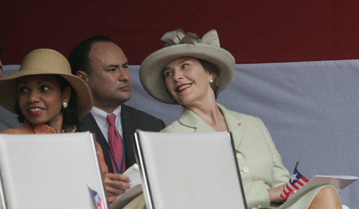 Mrs. Laura Bush and U.S. Secretary of State Condoleezza Rice attend the inauguration of Liberian President Ellen Johnson Sirleaf in Monrovia, Liberia, Monday, Jan. 16, 2006. President Sirleaf is Africa's first female elected head of state. White House photo by Shealah Craighead