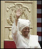 Liberian President Ellen Johnson Sirleaf waves to the audience at her inauguration in Monrovia, Liberia, Monday, Jan. 16, 2006. President Sirleaf is Africa's first female elected head of state. Mrs. Laura Bush and U.S. Secretary of State Condoleezza Rice attended the ceremony. White House photo by Shealah Craighead