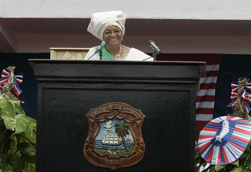 Liberian President Ellen Johnson Sirleaf addresses the audience at her inauguration in Monrovia, Liberia, Monday, Jan. 16, 2006. President Sirleaf is Africa's first female elected head of state. Mrs. Laura Bush and U.S. Secretary of State Condoleezza Rice attended the ceremony. White House photo by Shealah Craighead