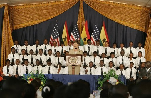 Mrs. Laura Bush addresses an audience at the Accra Teacher Training College in Accra, Ghana, where she joined Ghana President John Agyekum Kufuor, Tuesday, Jan. 17, 2006, to help launch the Africa Education Initiative Textbooks Program. White House photo by Shealah Craighead