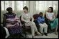 Mrs. Laura Bush and her daughter Barbara talk with patients, their family members and staff at the Korle-Bu Treatment Center, Tuesday, Jan. 17, 2006 in Accra, Ghana. White House photo by Shealah Craighead