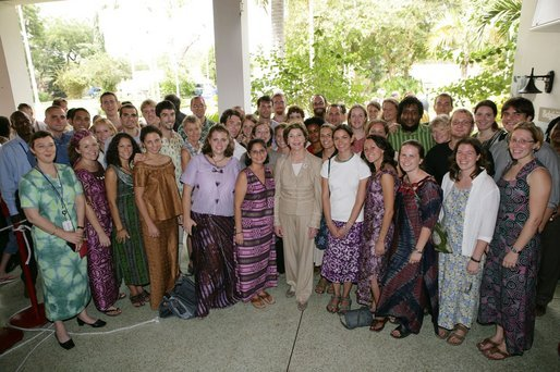 Mrs. Laura Bush poses with Peace Corps volunteers Tuesday, Jan. 17, 2006, at the home of the U.S. Ambassador in Accra, Ghana. Ghana was the first assignment for the organization, which marks its 45th anniversary this year. White House photo by Shealah Craighead