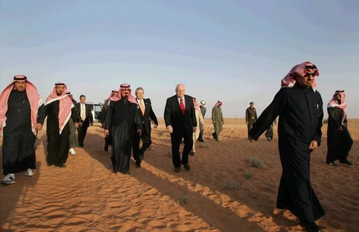 Vice President Dick Cheney and King Abdullah make their way through Saudi sands on the way to the King's desert camp outside Riyadh, Tuesday January 17, 2006. White House photo by David Bohrer