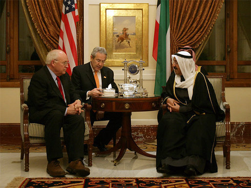 Vice President Dick Cheney meets with Kuwaiti Prime Minister Sheikh Sabah Al-Ahmed Al-Jaber Al Sabah in Kuwait City, January 17, 2006. The Vice President delivered condolences to the Al Sabah family following the death of Emir Sheikh Jabir al-Ahmad Al Sabah on January 15. White House photo by David Bohrer