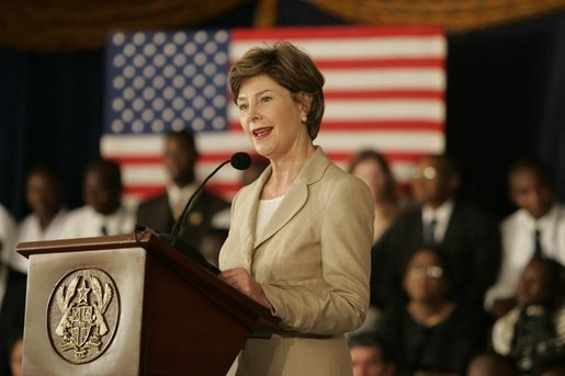 Mrs. Laura Bush addresses an audience at the Accra Teacher Training College in Accra, Ghana, Tuesday, Jan. 17, 2006, to help launch the African Education Initiative Textboooks Program. White House photo by Shealah Craighead