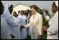 Laura Bush is greeted at Saint-Mary's Catholic Hospital in Gwagwalada, Nigeria Wednesday, Jan. 18, 2006. White House photo by Shealah Craighead