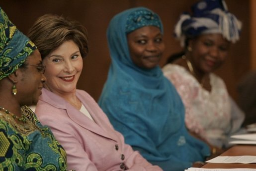 Laura Bush attends a meeting January 18, 2006 at the National Center for Women's Development in Abuja, Nigeria. Mrs. Bush addressed the organization and attended a women's empowerment roundtable. White House photo by Shealah Craighead