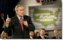 President George W. Bush delivers remarks on the economy at JK Moving and Storage in Sterling, Va., Thursday, Jan. 19, 2006.  White House photo by Eric Draper