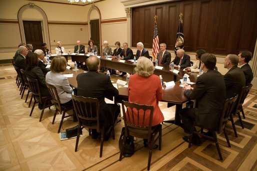 President George W. Bush and Mrs. Bush meet with heads of foundations to help aid Gulf Coast Recovery at the White House, Thursday, Jan. 19, 2006. White House photo by Eric Draper