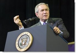 "President George W. Bush delivers remarks on the global war on terror at Kansas State University in Manhattan, Kan., Monday, Jan. 23, 2006. ""History has shown that democracies yield the peace, said the President talking about the War or Terror and Iraq. ""Europe is free, whole, and at peace because the nations are democratic.""  White House photo by Eric Draper"
