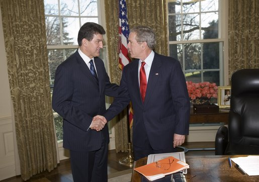 President George W. Bush meets West Virginia Governor Joe Manchin in the Oval Office, Tuesday, Jan. 24, 2006. After 14 coal mining deaths in West Virginia in three weeks, Gov. Manchin's legislative proposals to improve mine safety has been passed by the West Virginia Senate unanimously. White House photo by Eric Draper