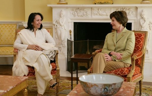 Laura Bush meets with Begum Rukhsana Aziz, the wife of Prime Minister Shaukat Aziz of Pakistan, Tuesday, Jan. 24, 2006 at the White House. White House photo by Shealah Craighead