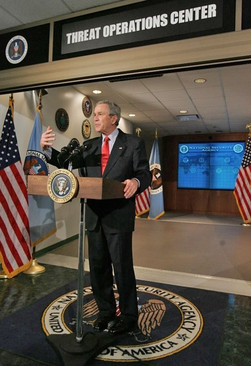 President George W. Bush addresses the media during a visit to the National Security Agency in Fort Meade, Md., Wednesday, Jan. 25, 2006. White House photo by Eric Draper