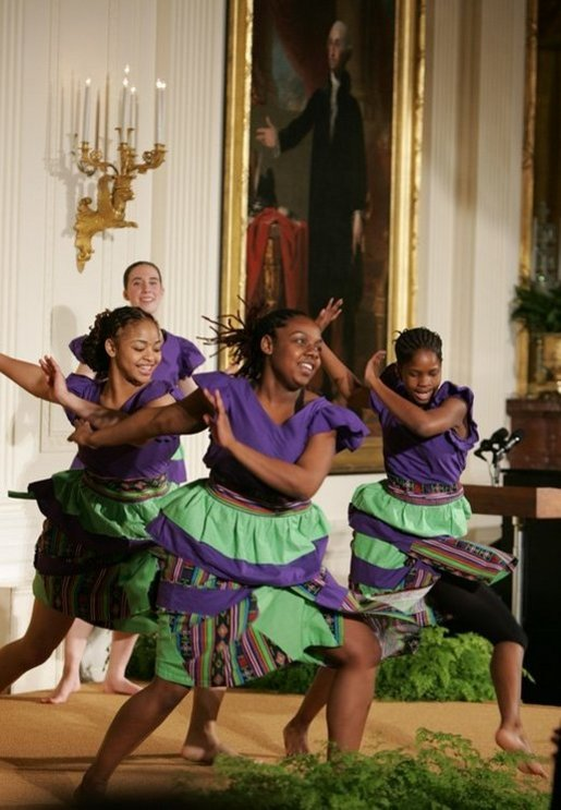 The Moving in the Spirit dancers perform Wednesday, Jan. 25, 2006 in the East Room of the White House, during the President's Committee on the Arts and the Humanities 2006 Coming Up Taller Awards ceremony. White House photo by Paul Morse